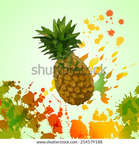 watercolor splash, juicy pineapple - vector illustration - stock vector