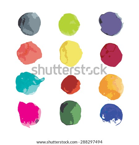 Watercolor splashes set for your design. Vector illustration