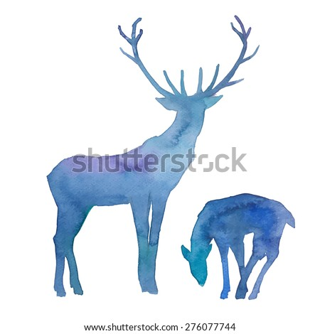 Watercolor splashes silhouettes of deers. Deer family. Hand drawn wildlife illustration in vector. - stock vector