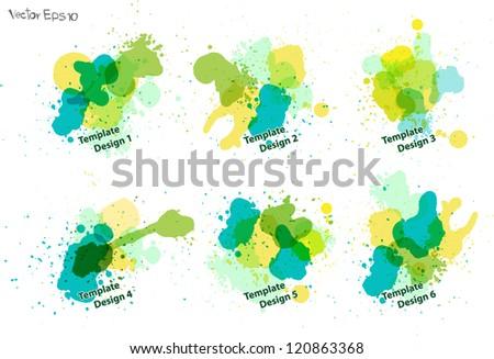Watercolor splatters. vector template design - stock vector