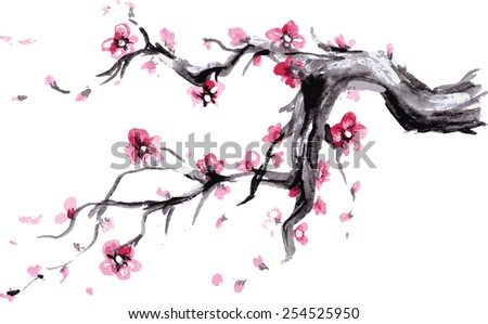 Watercolor Spring blossoms background - japanese symbol, vector - stock vector