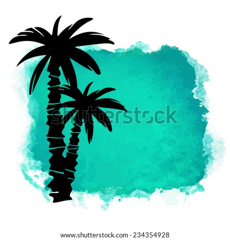 Watercolor square paint stain and coconut palm trees closeup black silhouettes. Nature icon isolated on white background. Abstract art. Logo design