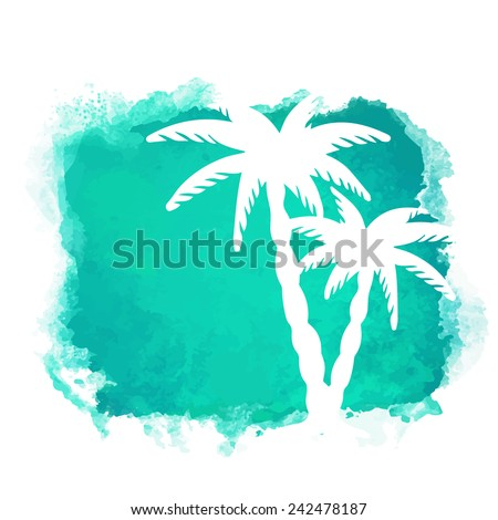 Watercolor square paint stain and coconut palm trees closeup white silhouettes. Nature icon isolated on white background. Abstract art. Logo design