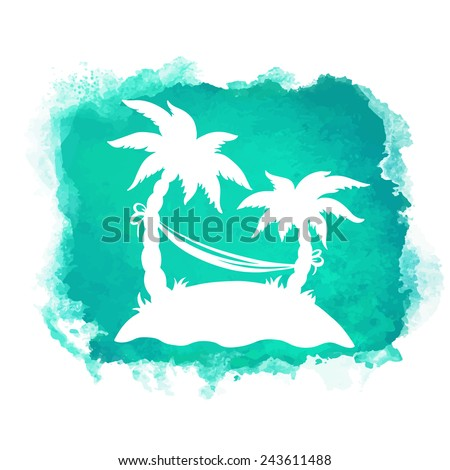 Watercolor square paint stain and coconut palm trees, hammock closeup white silhouettes. Nature icon isolated on white background. Abstract art. Logo design  - stock vector