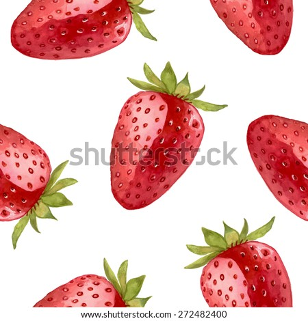 Watercolor strawberry pattern. Seamless vector illustration. Backdrop for summer poster, cards, menu, eco label etc - stock vector