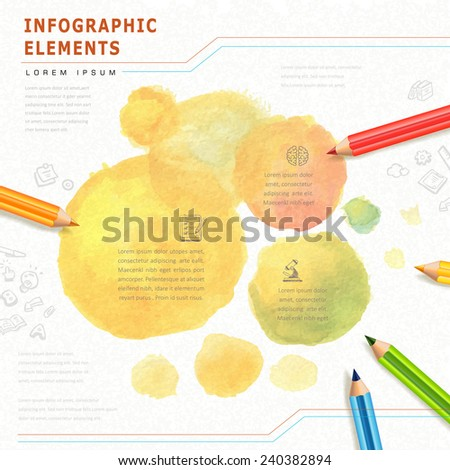 watercolor style education infographic with colorful pencils element - stock vector