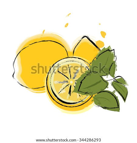 Watercolor style vector graphics of some lemon and leaves