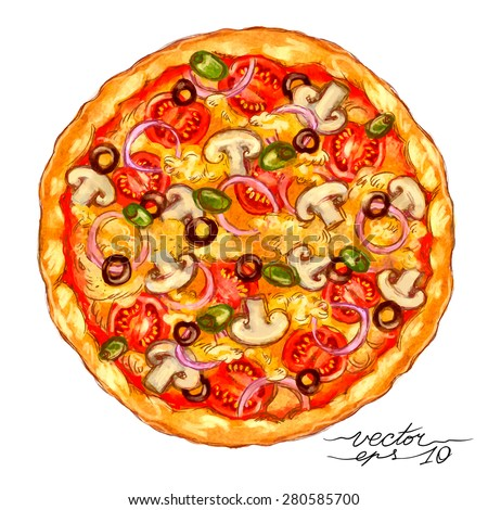 Watercolor-style vector hand drawn Vegetarian pizza. - stock vector