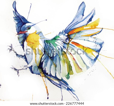 Watercolor-style vector illustration of bird. - stock vector