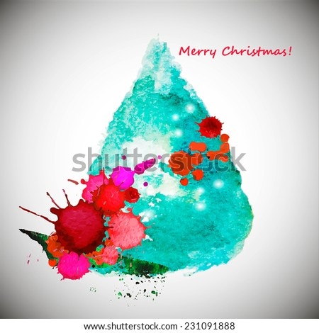 watercolor stylish Christmas tree acrylic paint. Vector illustration