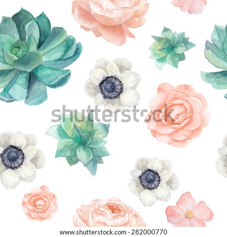 Watercolor succulents and flowers seamless pattern. Vintage wallpaper with pastel peony,roses, anemones, succulents, rose hip on white background. Floral texture in vector - stock vector