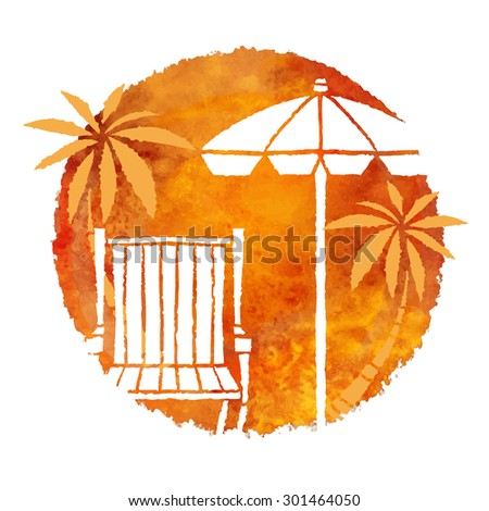 Watercolor summer beach print. Circle paint stain, deck chair, palm trees, beach umbrella isolated on white background - stock vector