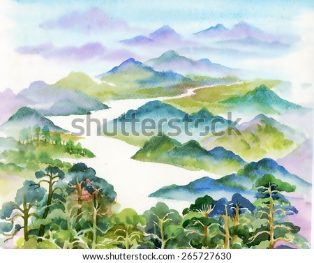 Watercolor summer river landscape vector illustration - stock vector