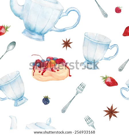 Watercolor summer tea time pattern. Hand painted seamless background with vintage cup, teapot, spoon, meringue cake, berries, tea spices. Vector texture - stock vector