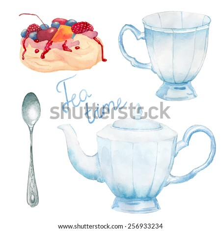Watercolor summer tea time set. Hand painted vintage porcelain cup, teapot, spoon, meringue cake with berries. Vector objects - stock vector