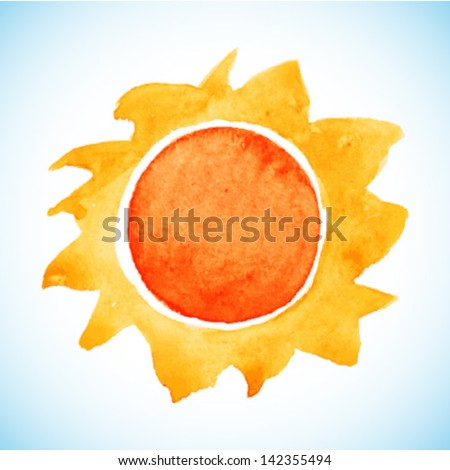 Watercolor sun, vector illustration - stock vector