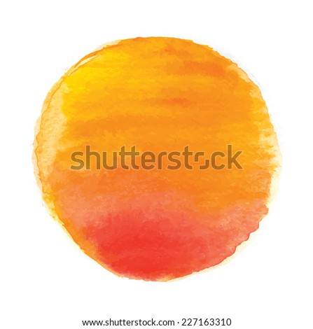 watercolor sun, vector illustration, isolated on white background - stock vector