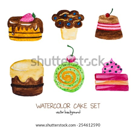 Watercolor sweets set. Vector hand drawn objects isolated on white background