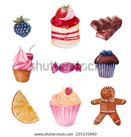Watercolor sweets set. Vector hand drawn objects isolated on white background: candy, fruit, berry, cupcakes, chocolate, biscuit - stock vector