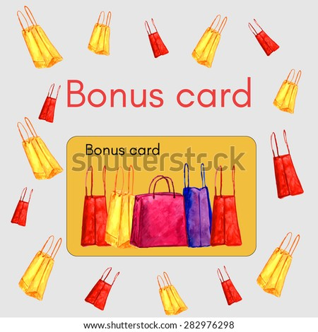 Watercolor template for BONUS CARD with separate card decorated with shopping bags. Vector illustration. Design for shops. Bonus program for the customer. - stock vector