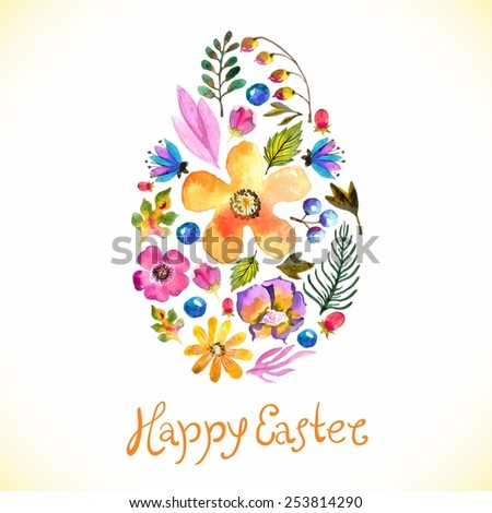 Watercolor Template for greeting card or invitation for Happy Easter with flowers and hand made text - stock vector