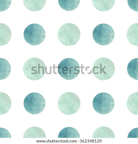 Watercolor texture. Seamless pattern. Watercolor circles in pastel colors on white background. Pastel colors and romantic delicate design. Polka Dot Pattern. Fresh and Mint Colors. - stock vector
