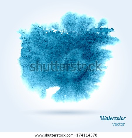 Watercolor texture. Vector illustration. Blue grunge paper template. Wet paper. Blobs, stain, paints blot. Composition for scrapbook elements. Brush strokes. - stock vector