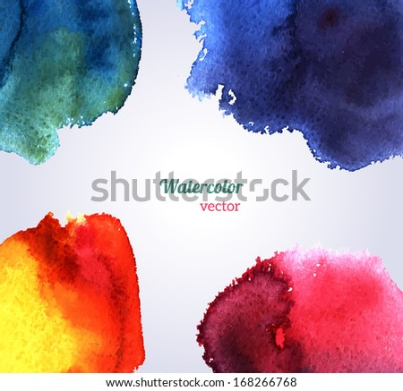 Watercolor texture. Vector illustration. Purple grunge paper template. Water. Wet paper. Blobs, stain, paints blot. Composition for scrapbook elements. Invitation or greeting card design. - stock vector