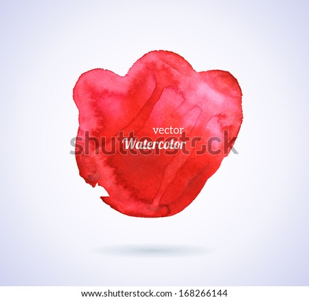 Watercolor texture. Vector illustration. Red grunge paper template. Water. Wet paper. Blobs, stain, paints blot. Composition for scrapbook elements. Brush strokes. Background for Valentine's day. - stock vector