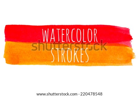 Watercolor textured banner in red and orange colors. Brush strokes for your design. Flat brush. Hand drawn banners. Bright watercolor strokes. Aquarell banner with paper texture - stock vector