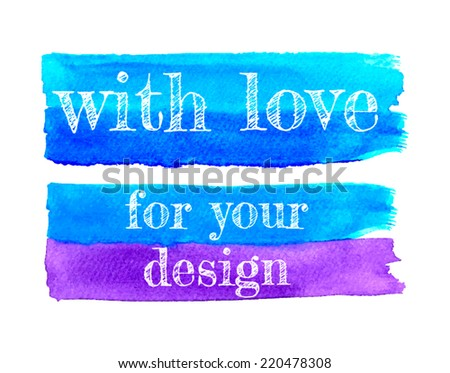 Watercolor textured banners in light and dark blue and purple colors. Brush strokes for your design. Flat brush. Hand drawn banners. Bright watercolor strokes. Aquarell banners with paper texture.  - stock vector
