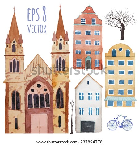 Watercolor town objects set. Hand drawn isolated illustrations in vector: buildings, trees, lamps, catholic church and flying balloon in sky. Vector design elements - stock vector