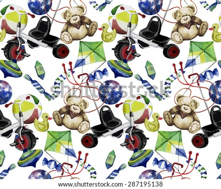 Watercolor toys pattern. Vector design
