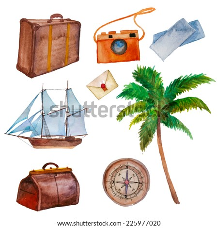 Watercolor travel objects set. Vacations hand drawn elements collection: palm, ship, bags, tickets, camera, compass. Vector illustration. - stock vector