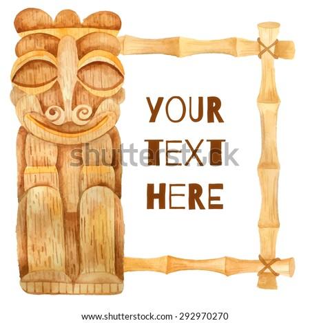 Watercolor tribal statues wood carvings banner - stock vector