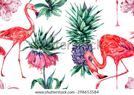 Watercolor tropical flowers, butterfly, pineapple and pink flamingos, exotic birds. Beautiful seamless vector floral jungle pattern background, exotic print, wallpaper - stock vector