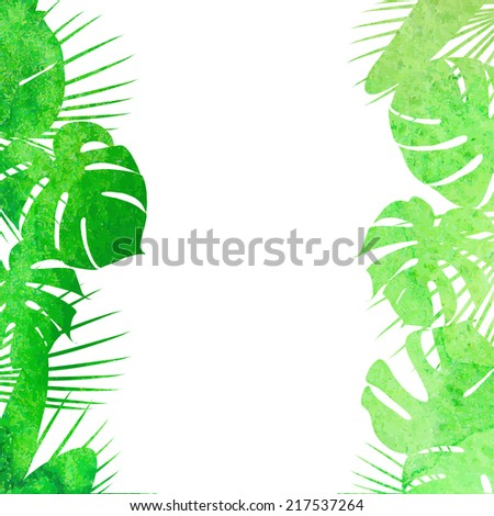Watercolor tropical leaves - stock vector