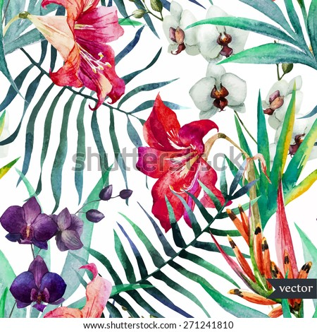 watercolor, tropical, pattern, wallpaper, background, birds of paradise, orchids, lilies, palm leaves, flowers - stock vector