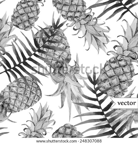 watercolor, tropical, pineapple, exotic, pattern, black and white - stock vector