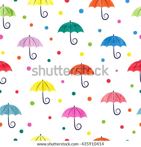 Watercolor umbrellas seamless pattern. Colorful vector illustration, suitable for wallpaper, web page background, kids textile.