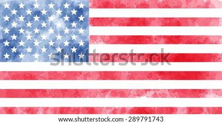 watercolor usa flag vector illustration dirty stock vector royalty