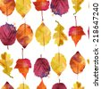 Watercolor vector autumn leaves pattern - stock vector