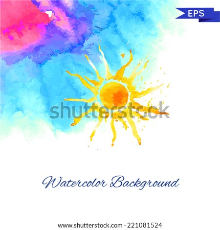 Watercolor Vector Background in Blue and Pink. - stock vector