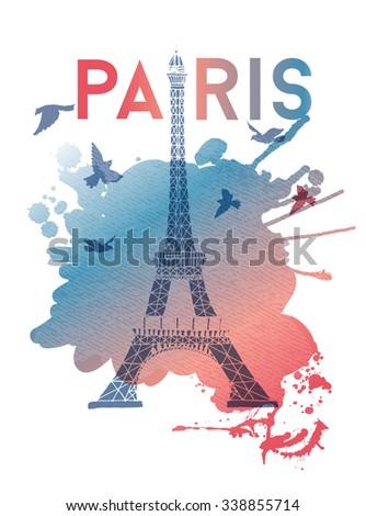 watercolor vector background of paris - stock vector