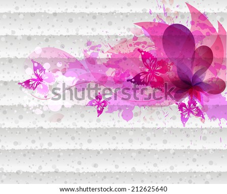 Watercolor vector background with colorful flower and blots. Abstract floral elements . - stock vector