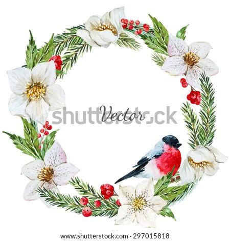 watercolor vector Christmas wreath, hellebore flower, tree, bird bullfinch - stock vector
