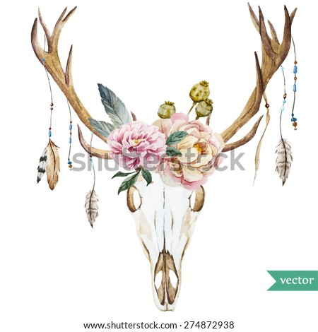 watercolor vector deer head with peony flowers - stock vector