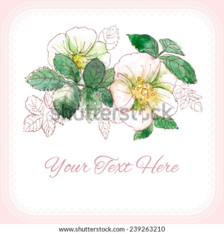 Watercolor. Vector. Dog-rose. Template cards. - stock vector