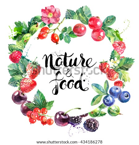 Watercolor vector eco food organic cafe menu design. Watercolor hand drawn natural fresh fruits and berries vector illustration on white background