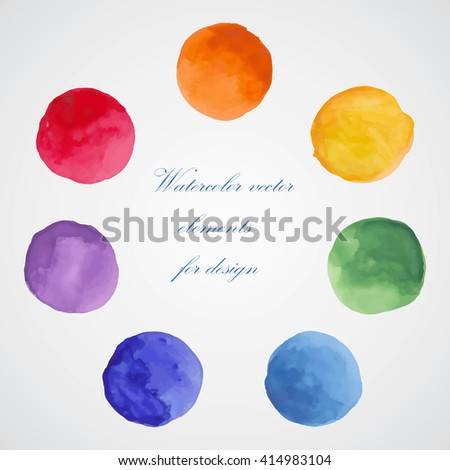 Watercolor vector elements for design. Colorful isolated paint circles. - stock vector
